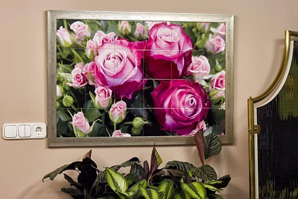 90x60 cm-es fotócsempe 15x15 cm-es csempékből, keretezve