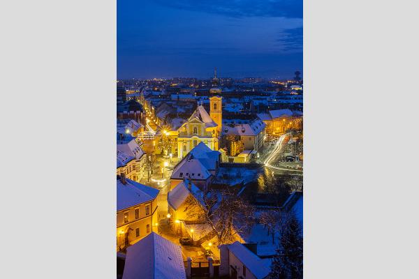 Győr, Bécsikapu tér a Püspökvár tornyából